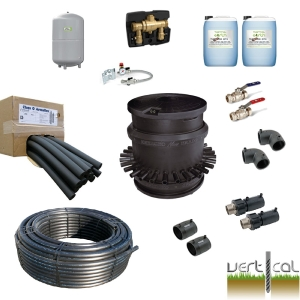7 Borehole Kit -100m 40mm+75mm HDPE Insulation, EF Fittings, 7 Port