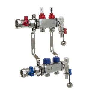 UFH Stainless Manifold 2 Port Kit Includes End Set and Ball Valves