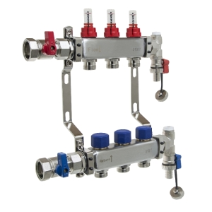 UFH Stainless Manifold 3 Port Kit Includes End Set and Ball Valves