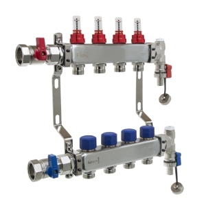 UFH Stainless Manifold 4 Port Kit Includes End Set and Ball Valves
