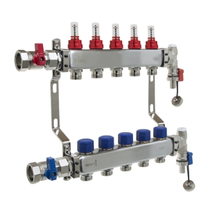 UFH Stainless Manifold 5 Port Kit Includes End Set and Ball Valves