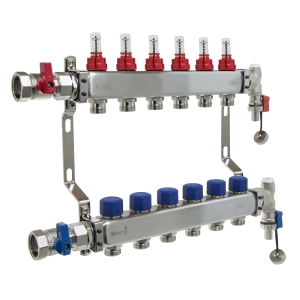 UFH Stainless Manifold 6 Port Kit Includes End Set and Ball Valves