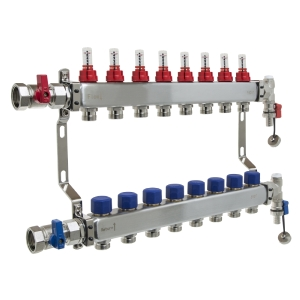 UFH Stainless Manifold 8 Port Kit Includes End Set and Ball Valves