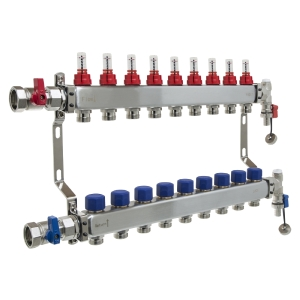 UFH Stainless Manifold 9 Port Kit Includes End Set and Ball Valves