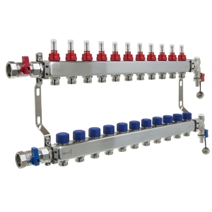 UFH Stainless Manifold 11 Port Kit Includes End Set and Ball Valves