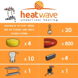 Heatwave 10 Port-800m Mix Kit Screed and Multi Zoned System