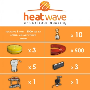 Heatwave 5 Port-500m Mix Kit Screed and Multi Zoned System