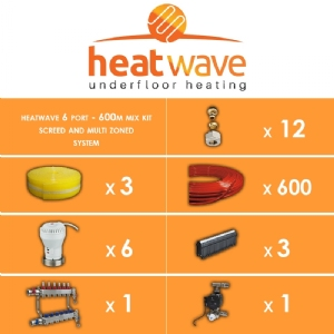 Heatwave 6 Port-600m Mix Kit Screed and Multi Zoned System