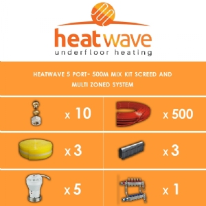 Heatwave 5 Port-500m Kit Screed and Multi Zoned System