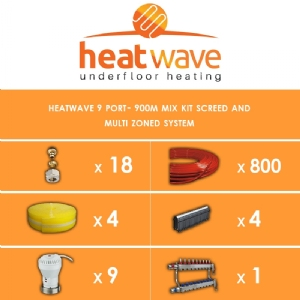 Heatwave 9 Port-900m Kit Screed and Multi Zoned System